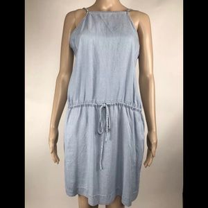 Paige Blue Tencel Halter Strap Dress With Pockets